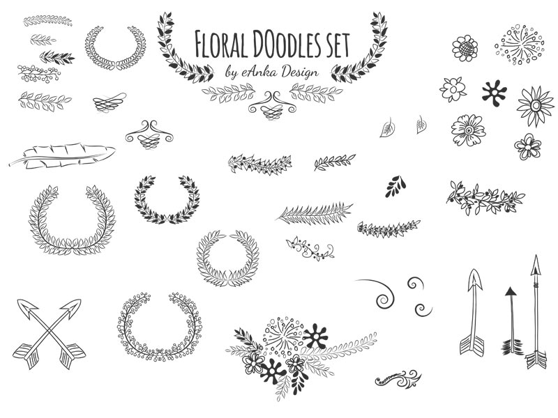 Free hand drawn floral doodles for your projects